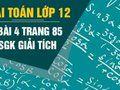 Bài 4 trang 85 sgk giải tích lớp 12