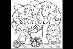 Tuyển tập 10+ bức tranh tô màu vườn cây ăn quả cho bé