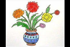 Tô màu bình hoa rực rỡ cùng con mỗi ngày để con thêm yêu màu sắc