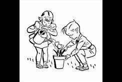 Tranh tô màu trồng cây xanh giúp bé thêm yêu hội họa và thiên nhiên