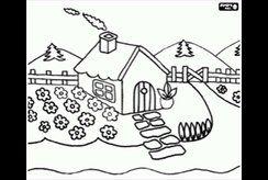 Tranh tô màu cho bé hình ngôi nhà cho bé 4 tuổi