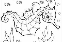 16 tranh tô màu con cá ngựa giúp bé khám phá động vật biển
