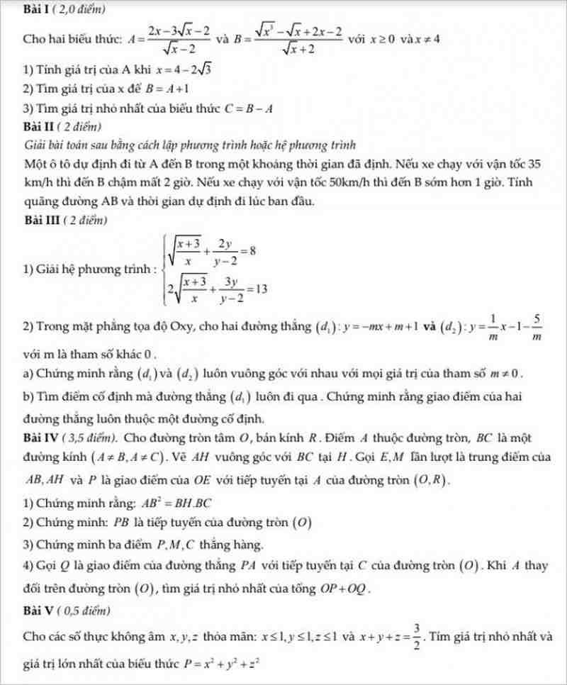 Đề thi thử vào lớp 10 môn toán năm 2018 có đáp án của trường THPT Thăng Long