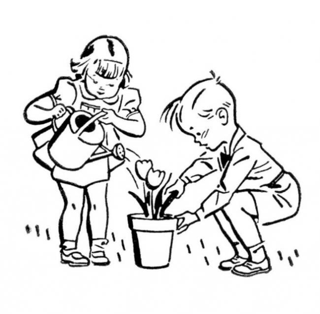tranh to mau hai anh em dang cham soc hoa