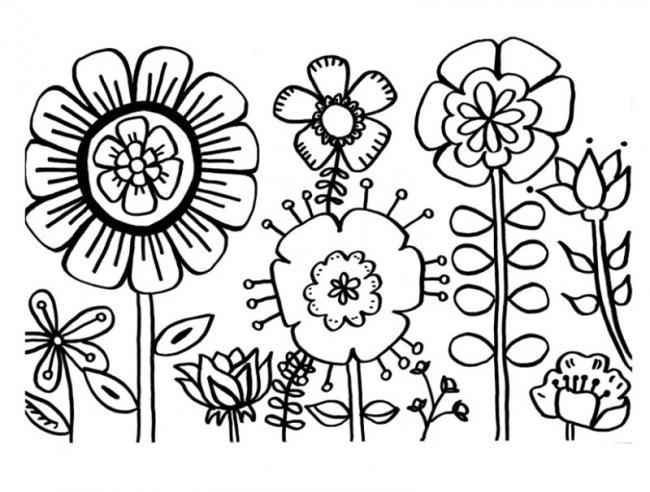 tranh to mau hoa cho tre mam non chu de hoa  mua xuan