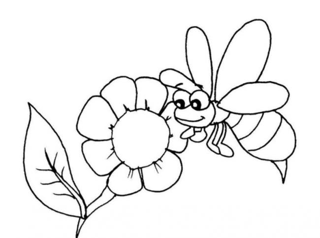 tranh to mau bong hoa va chu ong xinh xan
