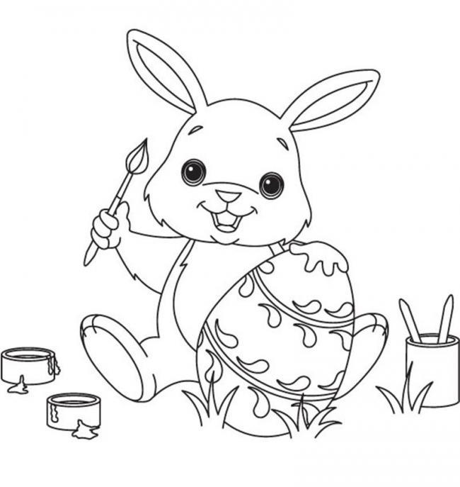 Thỏ tô màu quả trứng
