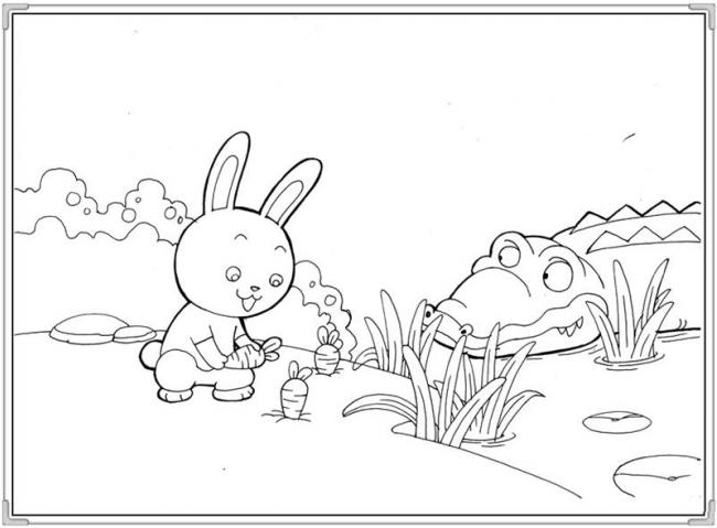 Thỏ con bị cá sấu rình rập