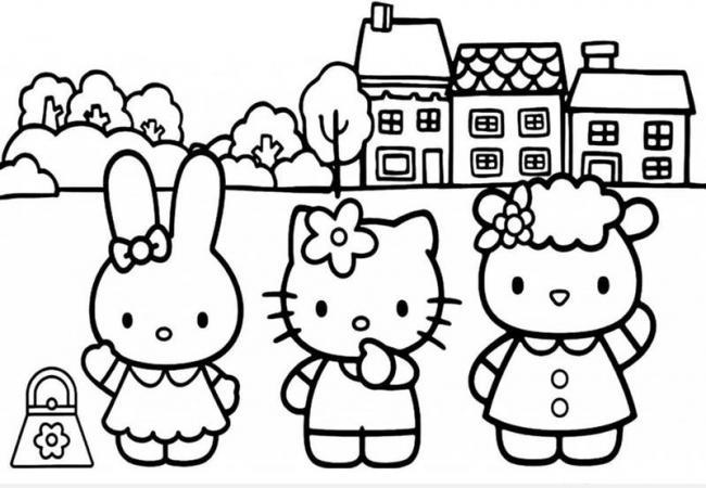 tranh tô màu mèo con đi học
