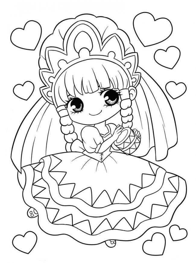 tranh tô màu cô công chúa bé nhỏ