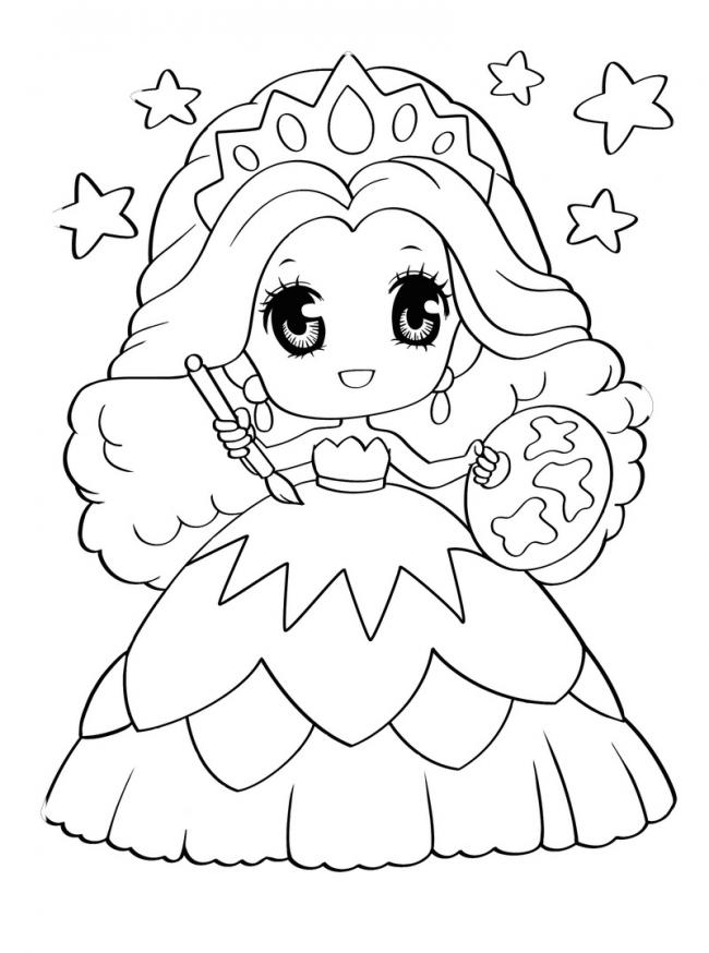 tranh tô màu cô công chúa bé nhỏ 2