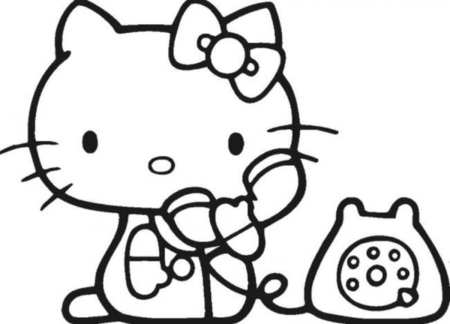 tranh to mau kitty nghe dien thoai