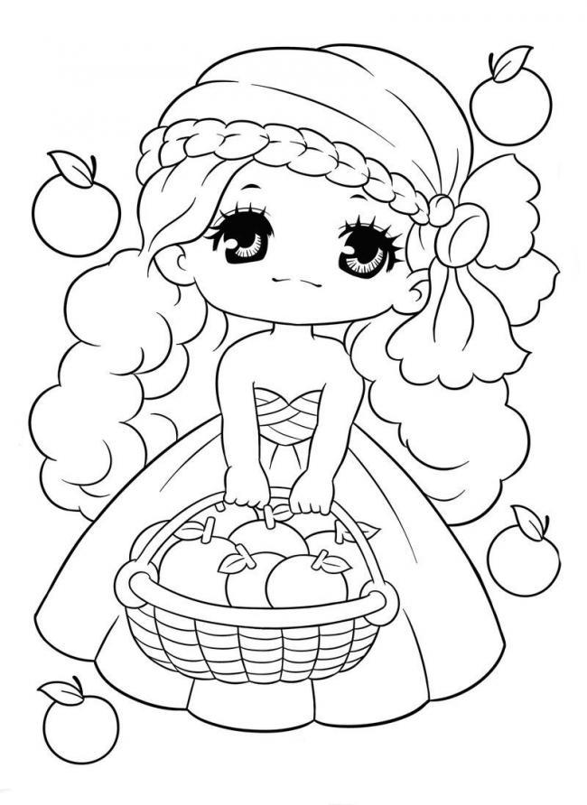 tranh tô màu cô công chúa nhỏ đáng yêubên giỏ trái cây