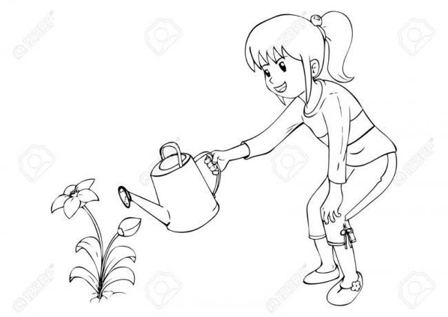 buc tranh be gai vui vetuoi hoa trong vuon