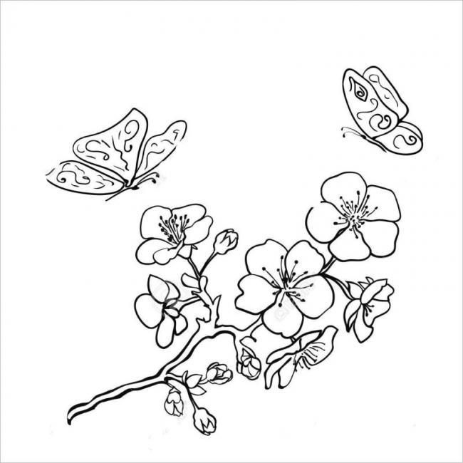 hình vẽ đàn bướm tụ hội với hoa đào ngày xuân