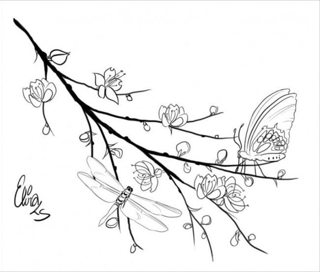 hình ảnh bướm và chuồn chuồn bị thu hút bởi những cánh hoa đào xinh đẹp