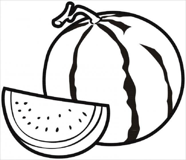 Tranh tô màu hình quả dưa hấu
