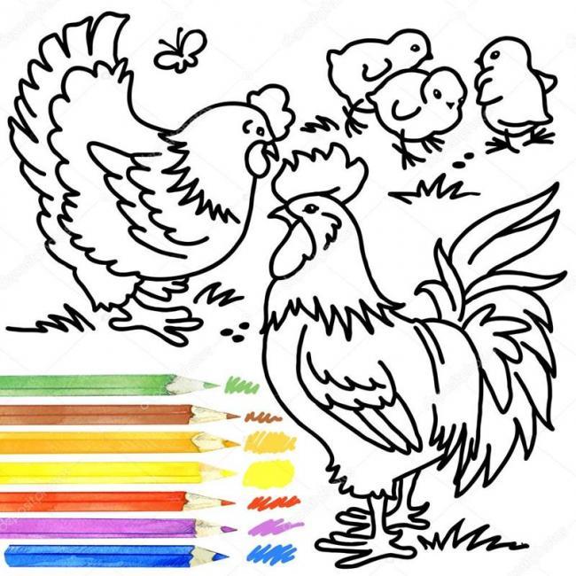 Bé sẽ chọn màu nào để tô cho con gà nào?