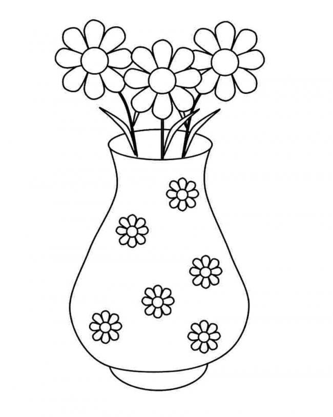 tranh tô màu lọ hoa