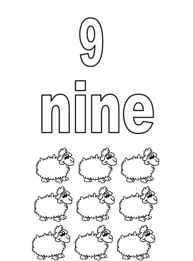 Tranh tô màu  9 chú cừu ngộ nghĩnh
