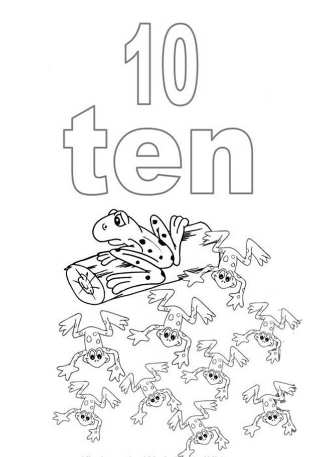 Tranh tô màu số 10 - 10 chú ếch con