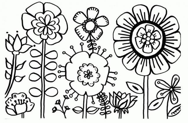 tranh to mau vuon hoa mua xuan ruc ro