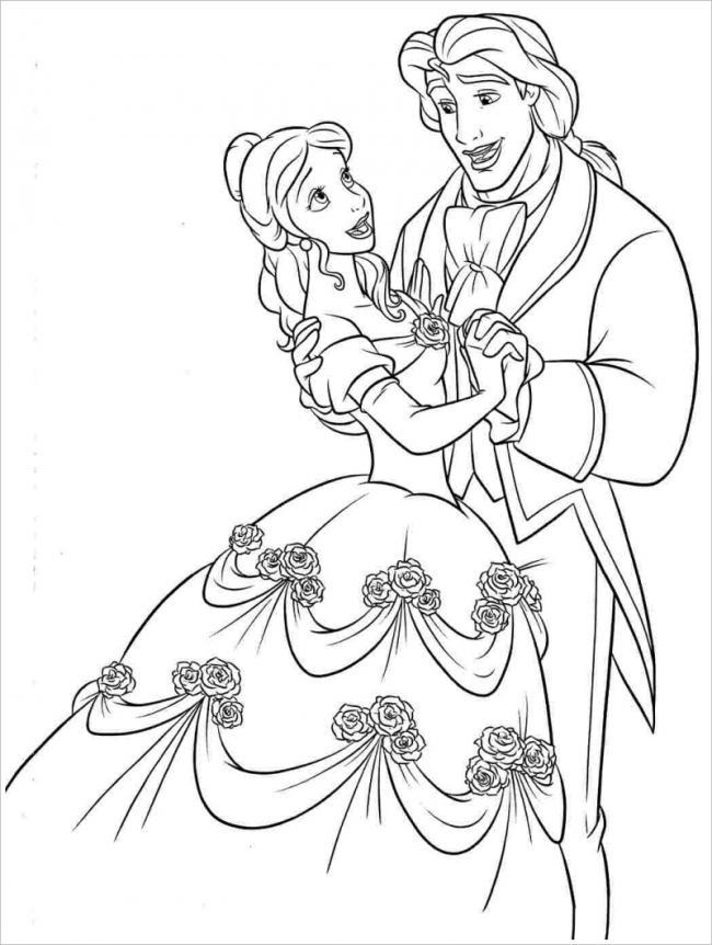 Hoàng tử âu yếm nhìn công chúa xinh đẹp