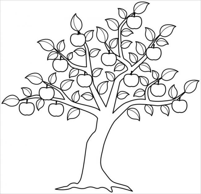 hình vẽ cây táo đầuhèsai trĩu quả