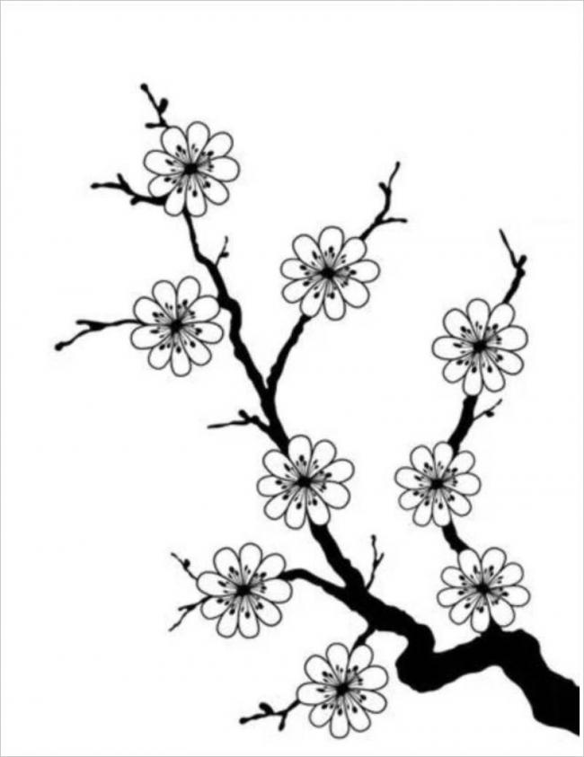 bức tranh vẽ gốc mai đã rụng lá chỉ còn lại hoa