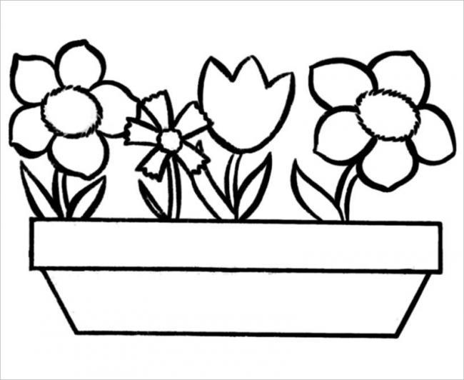 Tranh vẽ hình chậu hoa mini xinh xắn
