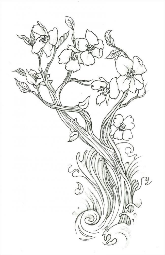 Bức tranh cây hoa mai uốn lượn mềm mại