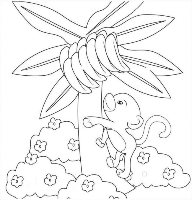 hình ảnh chú khỉ con trèo lên cây hái chuối