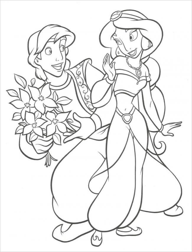 Tranh vẽ Aladin tặng hoa cho công chúa
