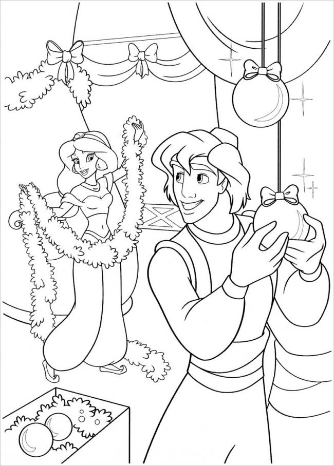 hình ảnh công chúa Jusmine cùng Aladin trang trí lễ Giáng sinh