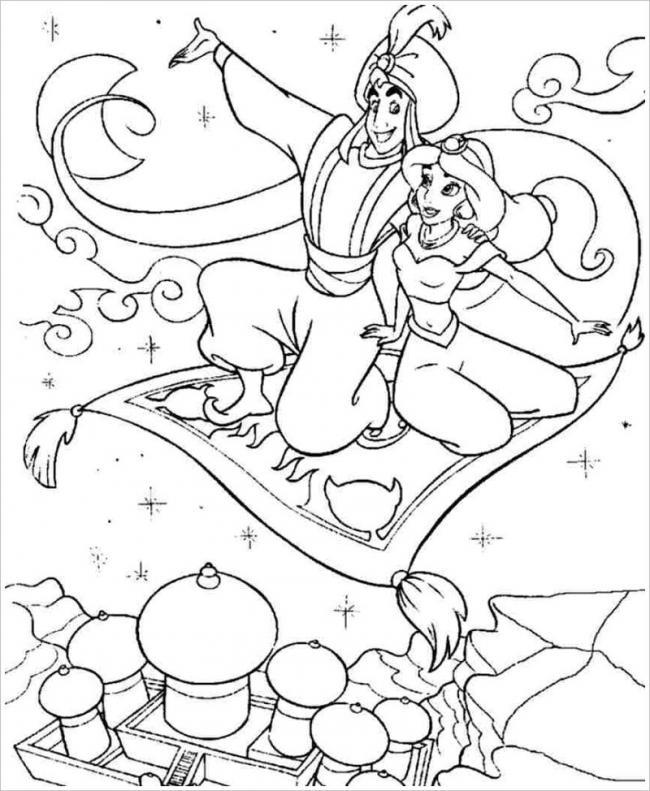 Tranh vẽ chiếc thảm bay thần kỳ đưa Aladin và Jasmine ngao du