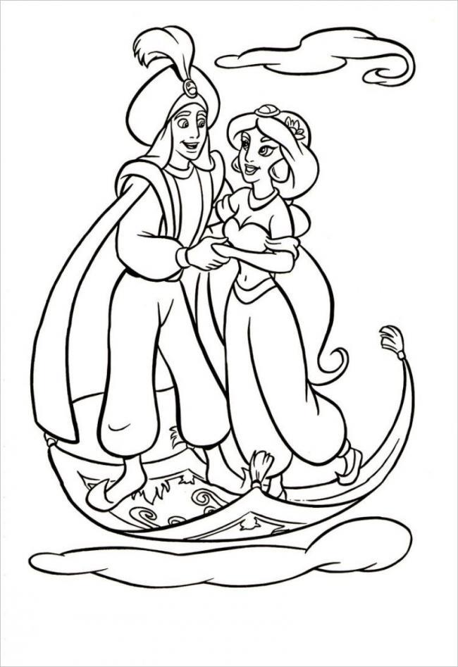 hình ảnh nàng công chúa Jasmine vui vẻ bên Aladin