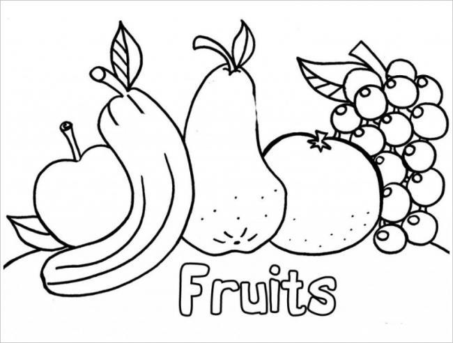 tranh tô màu các loại quả thêm chữ cho các bé học tập