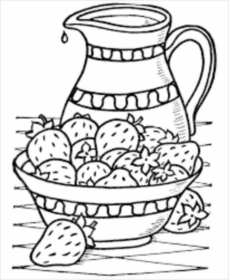 Tranh tĩnh vậttô màu quả dâu tây