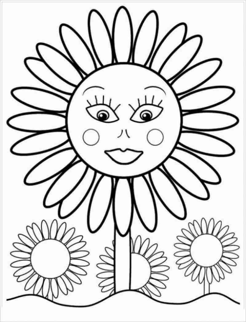 Tranh tô màu vườn hoa mặt cười