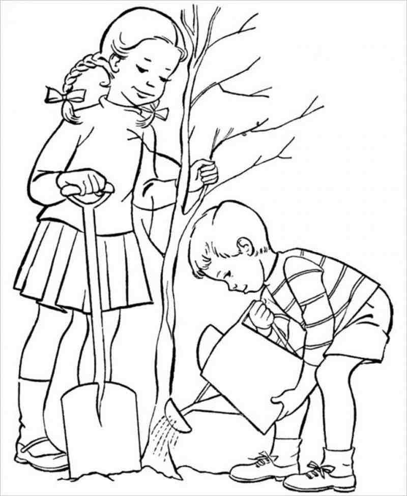 hình mô tả 2 anh em trồng cây bảo vệ môi trường