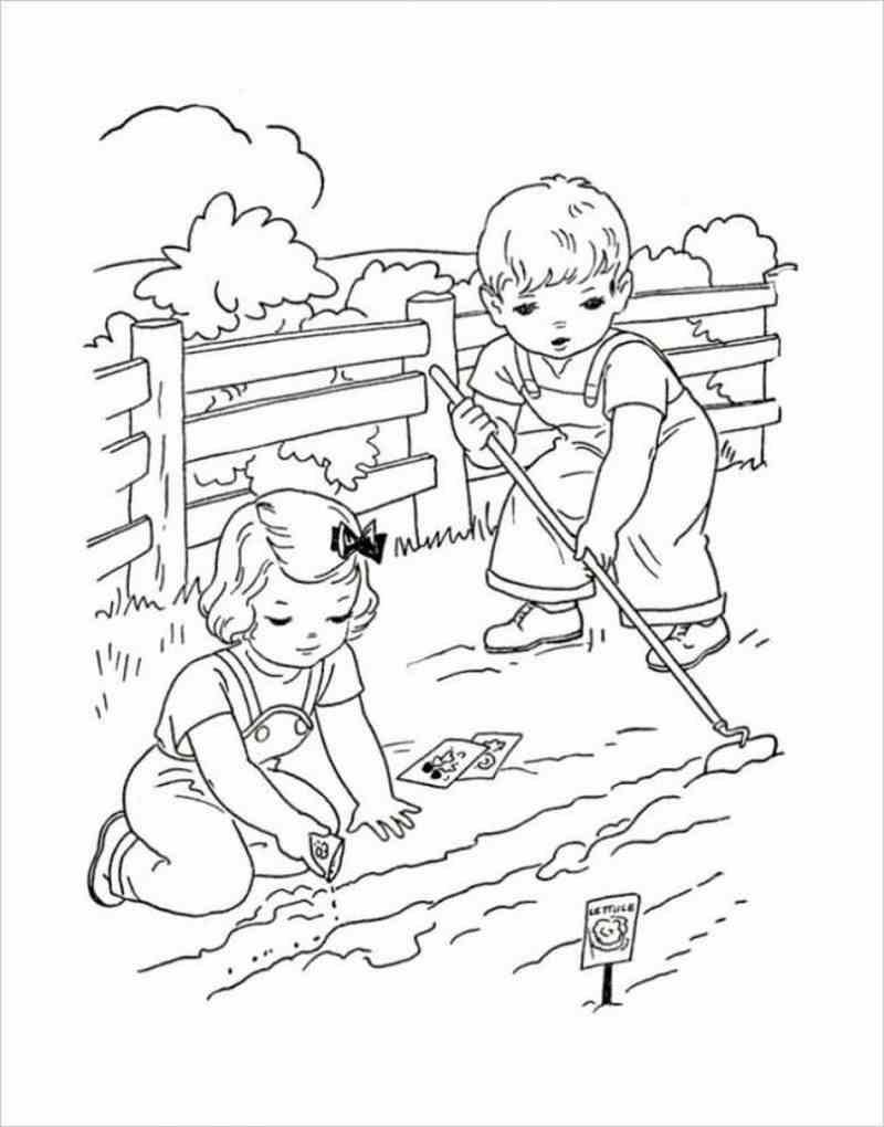 hình hai anh em đang xới đất và gieo hạt rau