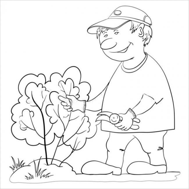 Tranh tô màu bé giúp ba tỉa lá cho cây
