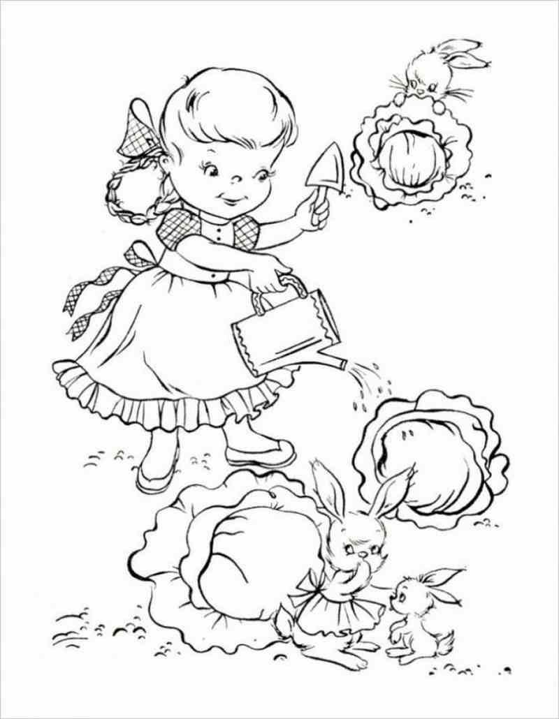 hình vẽ bé xới đất và tưới cho những luống bắp cải