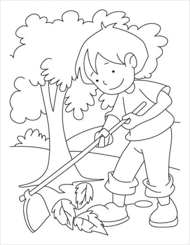 hình vẽ bé giúp mẹ dọn dẹp vườn cây