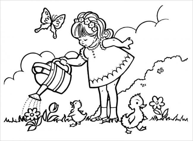 Hình ảnh em bé thích chăm sóc hoa