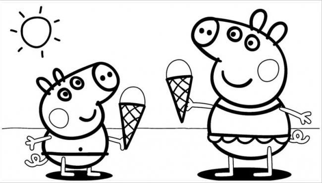 Hai chú lợn này ăn kem dưới trời nóng bức nè