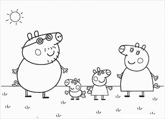 Gia đình chú lợn nhỏ này đi dạo trên bãi cỏ xanh nè