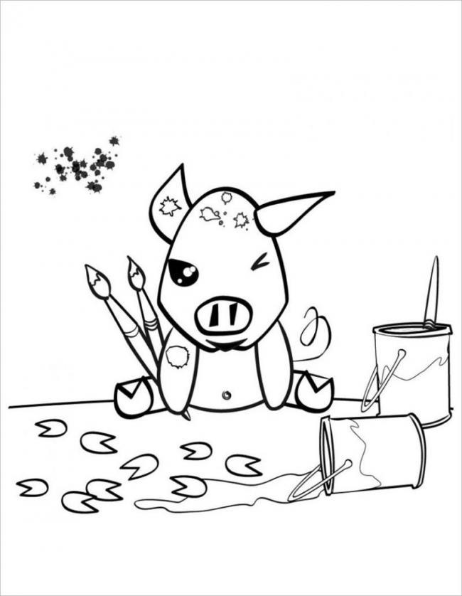 Lợn con cũng tập làm họa sĩ như bé nè