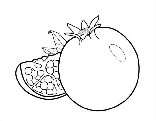 Tranh tô màu hình quả lựu đơn giản