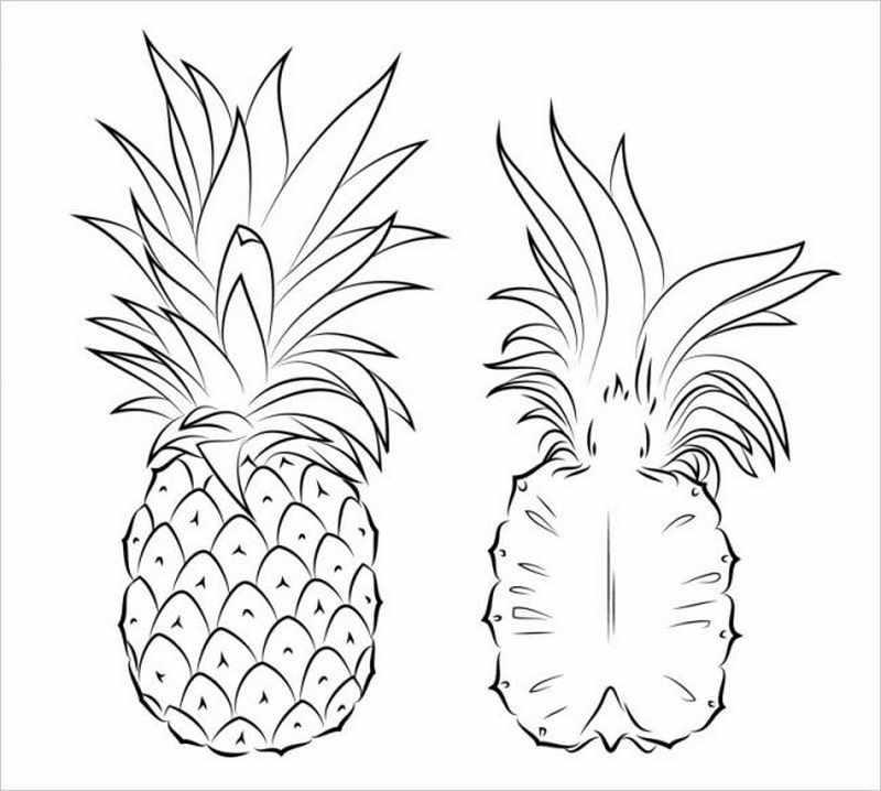 tranh vẽ quả dứa là loại quả có mùi thơm rất đặc trưng